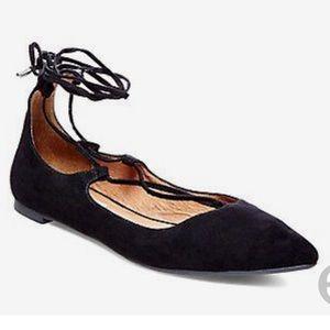 Steve Madden lecrew black lace up flats 9.5